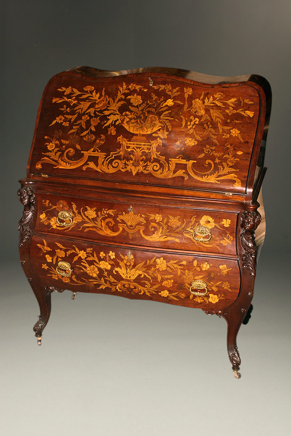Inlaid bombe desk, circa 1910-20. Note the intricate inlay of the Dutch style bombe with multiple compound curves.