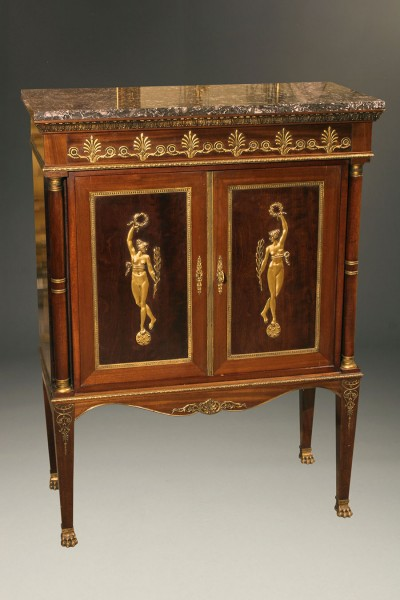 Antique French Empire Style Antique Buffet With Marble Top front view