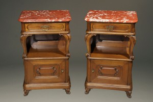 Pair of marble top night stands A5587A