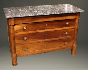 19th century French Empire commode in cherry with bronze pulls, circa 1870.